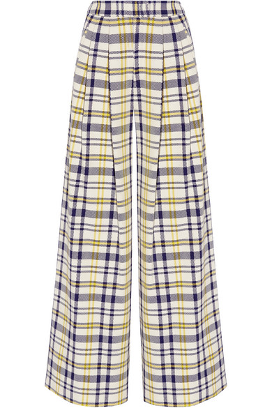 Adam Lippes - Pleated Plaid Cotton Wide-leg Pants - Yellow