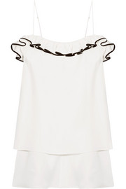 Ruffled satin-crepe top