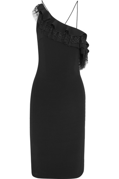Adam Lippes - One-shoulder Ruffled Chantilly Lace-trimmed Stetch-crepe Dress - Black