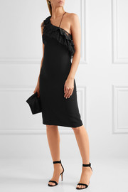 Adam Lippes One-shoulder ruffled Chantilly lace-trimmed stetch-crepe dress