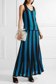 Adam Lippes Fluted paneled terry and open-knit maxi skirt