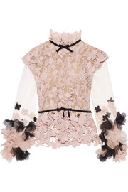 Floral-appliquéd tulle and guipure lace top