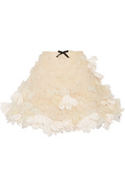 Floral-appliquéd organza mini skirt