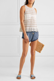 Paloma Blue Paloma crochet-trimmed printed silk-satin shorts