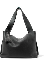 Duplex small textured-leather shoulder bag