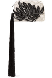 The Row Wristlet mini tasseled embellished bouclé clutch