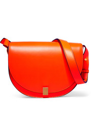 Half Moon Box neon leather shoulder bag
