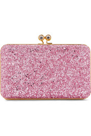 Sidney glittered suede clutch