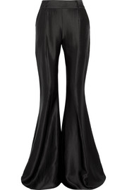Navi satin-jacquard flared pants