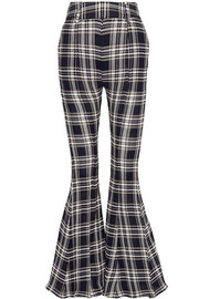 Navi plaid open-knit cotton flared pants