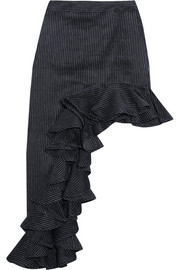 Ara asymmetric pinstriped linen-blend skirt