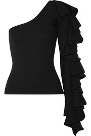 Electra one-shoulder ruffled ribbed-knit top
