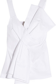 Victoria, Victoria Beckham Knotted cotton and silk-blend crepe top