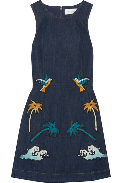 Victoria, Victoria Beckham - Embroidered Denim Mini Dress - Dark denim