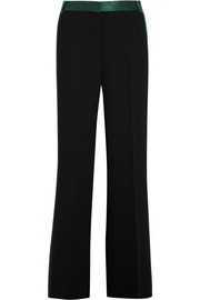 Silk satin-trimmed crepe wide-leg pants