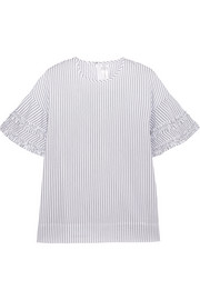 Victoria, Victoria Beckham Ruffle-trimmed striped cotton blouse