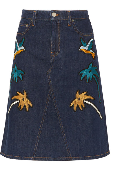 Victoria, Victoria Beckham - Embroidered Denim Skirt - Dark denim