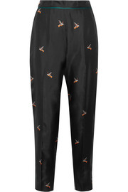 Printed silk-twill tapered pants