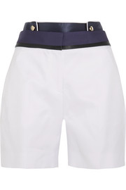 Satin-paneled cotton and silk-blend shorts