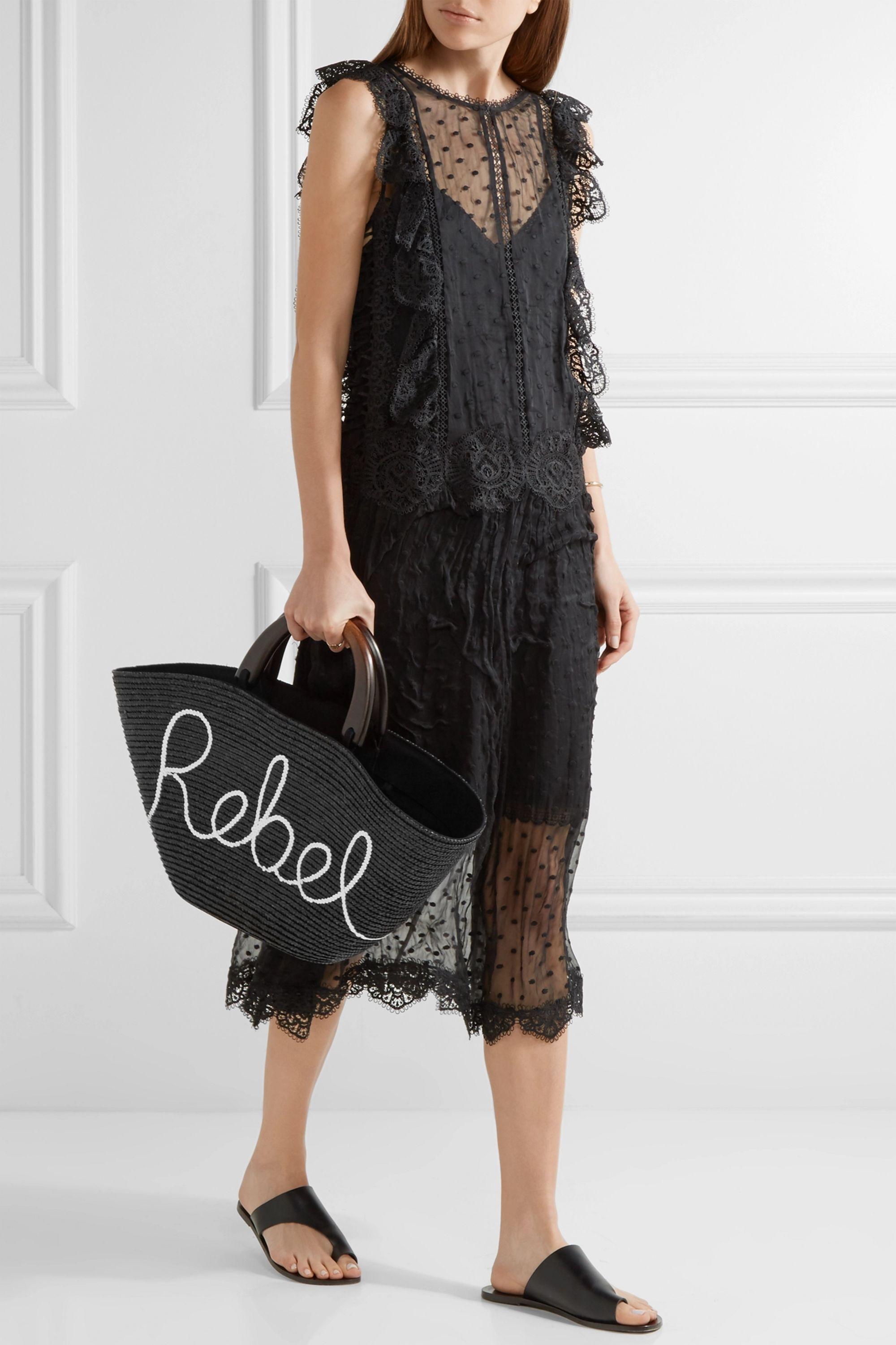 Eugenia Kim Carlotta sequin-embellished woven straw tote