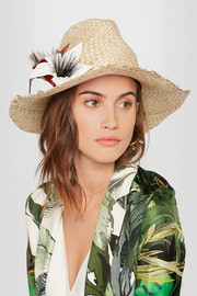 Ailin eel-trimmed straw Panama hat