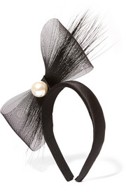Tiana feather-trimmed embellished tulle and satin headband