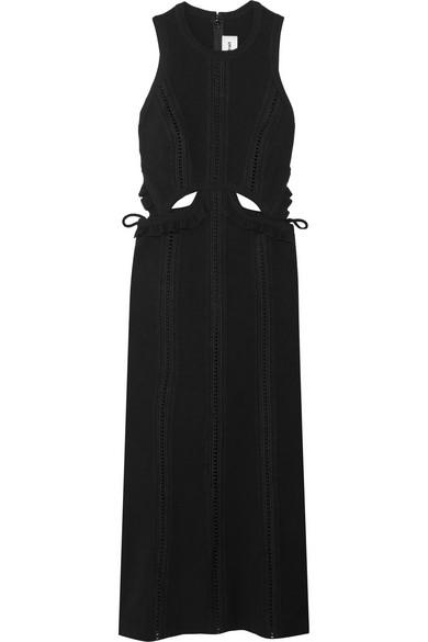 Self-Portrait - Ruffle-trimmed Cutout Crepe Midi Dress - Black