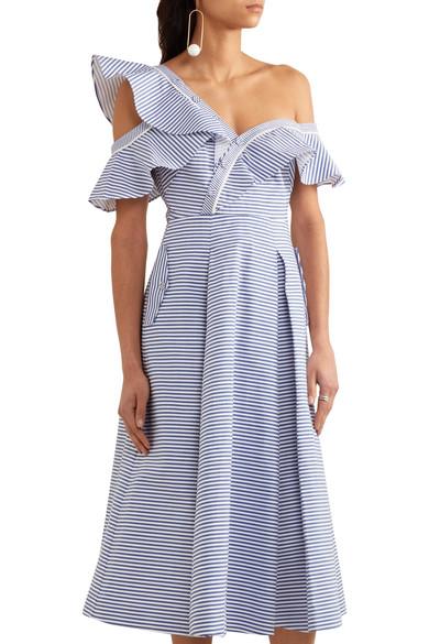 b227abc4b3b5 Self-Portrait | Off-the-shoulder striped cotton-poplin midi dress ...