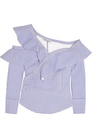 Off-the-shoulder ruffled striped cotton-poplin top