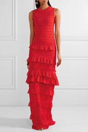 Tiered ruffled stretch-lace gown