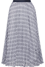 Pleated broderie anglaise cotton-blend skirt