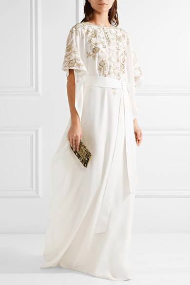 Oscar de la Renta   Embroidered silk-crepe gown   NET-A-PORTER.COM