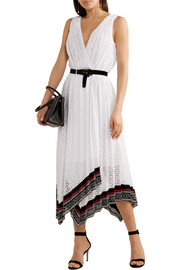 Lace-trimmed broderie anglaise cotton-blend wrap midi dress