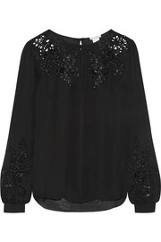 Broderie anglaise silk-chiffon blouse