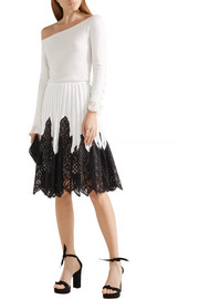 Pleated stretch-knit and lace skirt