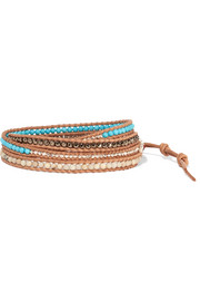 Leather and silver multi-stone wrap bracelet