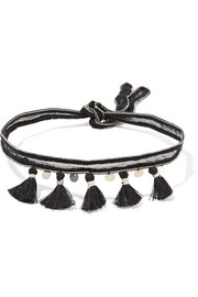 Tasseled chiffon and silver-tone choker