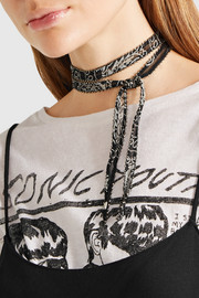 Printed voile beaded choker