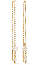 Gold-plated, quartz and pearl earrings