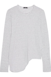 Asymmetric striped organic cotton-jersey top