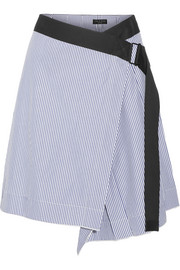 Lenna striped cotton and silk-blend wrap skirt