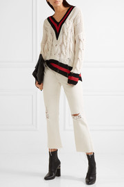 rag & bone Emma oversized striped cable-knit cotton-blend sweater