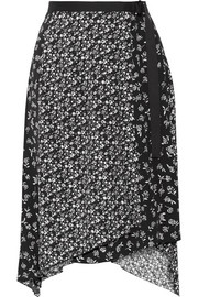 rag & bone Liv asymmetric printed crepe wrap skirt