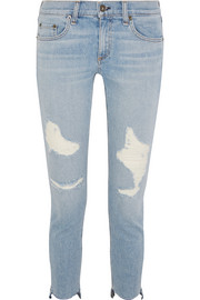 rag & bone Capri distressed low-rise skinny jeans