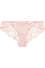 Souple Leavers lace and stretch-cotton jersey briefs