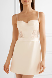 Lace and satin-trimmed stretch-silk crepe de chine chemise