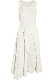 Victoria Beckham Smocked satin and lace midi dress