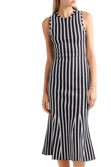 VICTORIA BECKHAM Fluted Ribbed Striped Cotton-Blend Dress