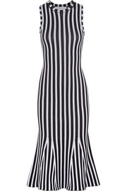Fluted ribbed striped cotton-blend dress