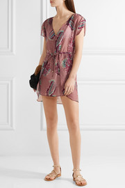 Vix Agata printed cotton and silk-blend mini dress